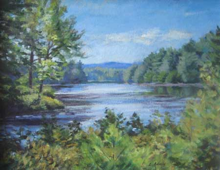 Lynne Adams North Quabbin Pond (12x16 oil on canvas) a traditional landscape painting of a pond with sky and water and trees