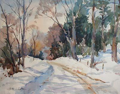 Snowy Road (26x32 watercolor)