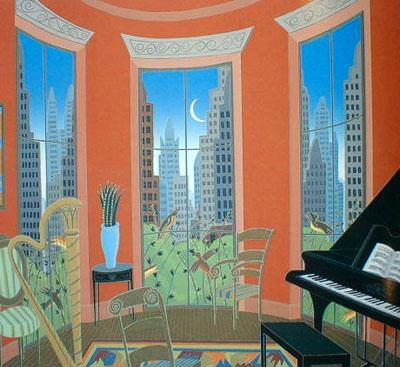 Thomas McKnight - Music in Manhattan (29x31 serigraph)