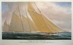 John Mecray - Duel of the Titans - Print of sail boat on water