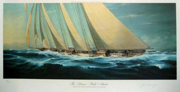 John Mecray - The Schooner Yacht Atlantic (19x36 offset lithograph)