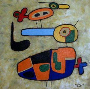 Menno Baars Abstract Birds Babysitting (36x36 acrylic on canvas)