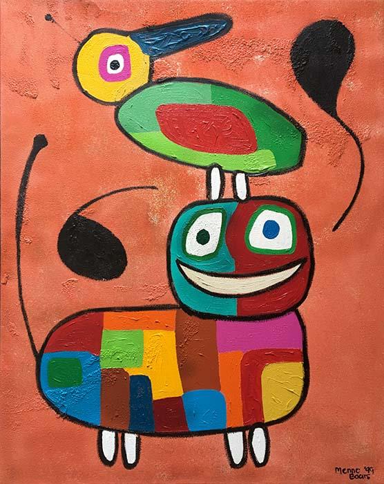 Menno Baars Abstract Animal Companions (40x30 oil on canvas)