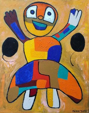 Menno Baars Little Kid Futuristic Colorful Robot Dancer in Dress (42x30 oil on canvas)