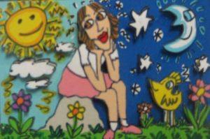 James Rizzi The Dreamer silkscreen of a girl sitting on a rock