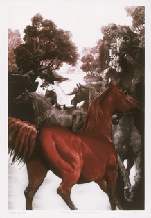 GH Rothe - Danby's Enchanted Island mezzotint print of a brown horse and trees