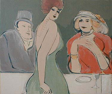 David Schneuer - Lady with Hat (22x25 serigraph on paper)