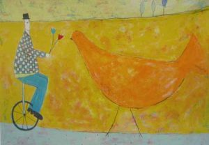 Annora Spence - Unicycle and Bird (16x24 serigraph on paper)
