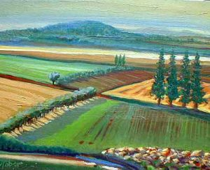Valley with Red Lines (11x14 oil on board)