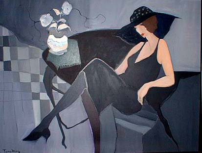 Itzchak Tarkay oil acrylic Painting on canvas of a woman in black