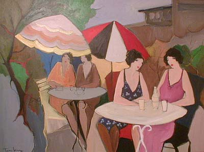 Itzchak Tarkay acrylic - oil Painting of friends sitting at a cafe