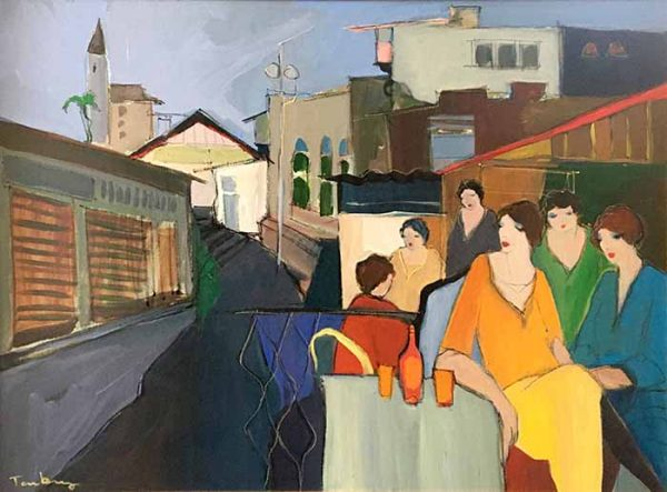 Itzchak Tarkay acrylic - oil painting of women sitting in a city cafe
