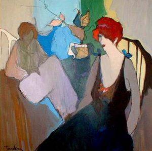 Itzchak Tarkay acrylic - oil painting of a woman wearing a black dress
