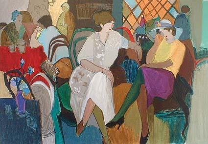 Itzchak Tarkay - Cafe de Paris (38x50 serigraph)