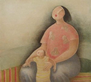 Eng Tay - Mother and Child V (21x20 etching on paper)