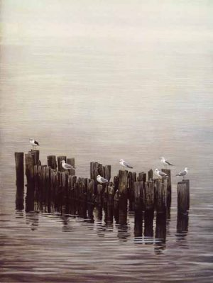 Robert Bateman - Gulls on the Pilings (26x20 lithograph on paper)