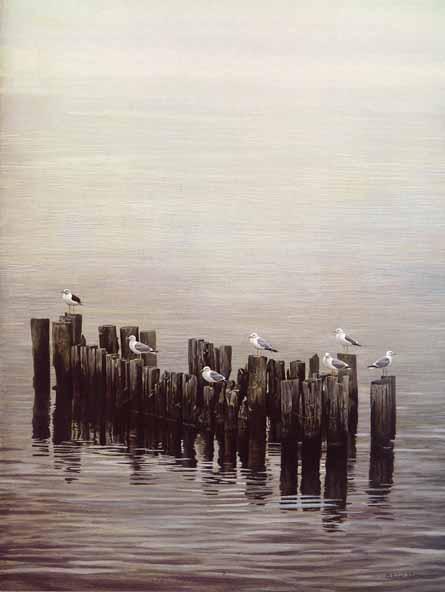 Robert Bateman - Gulls on the Pilings (26x20 lithograph on paper)