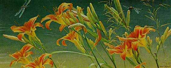 Robert Bateman - Daylillies (10x24 lithograph on paper)