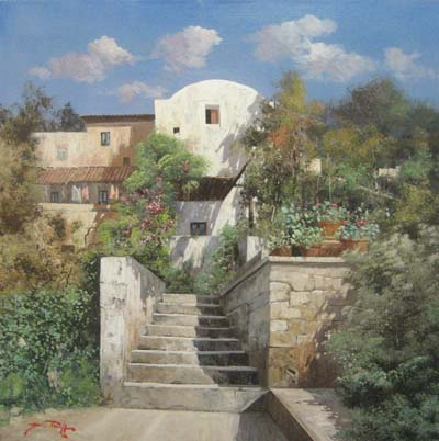 Villa Steps (27.5 x 27.5 oil on canvas)