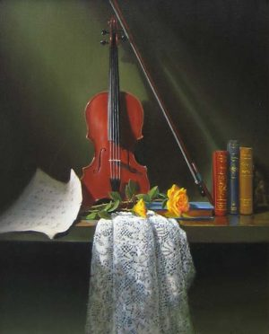 Richard Weers - Roses with Violin (20x16 oil painting on canvas)