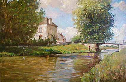 Canals of Burgundy (24x36 serigraph on canvas)