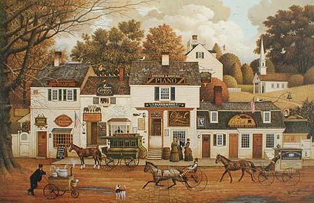 Charles Wysocki - Olde Cape Cod Americana folk art print of old village on Cape Cod