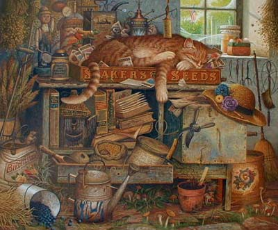 Charles Wysocki Remington the Horticulturist print of cat lying in garden shed with tools