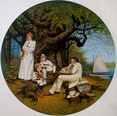 Charles Wysocki Robin Hood print of family sitting under a tree in the sherwood forest reading a book