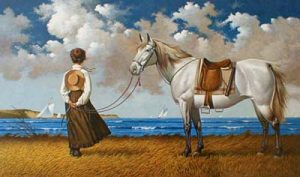 Charles Wysocki - Sea Captain's Wife Abiding print of woman staring out to sea waiting for her husband to come home