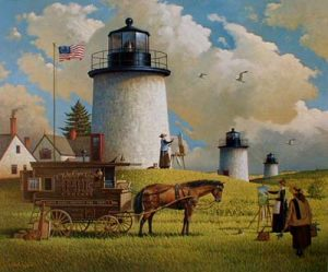Charles Wysocki Three Sisters of Nauset print of famous lighthouses on cape cod