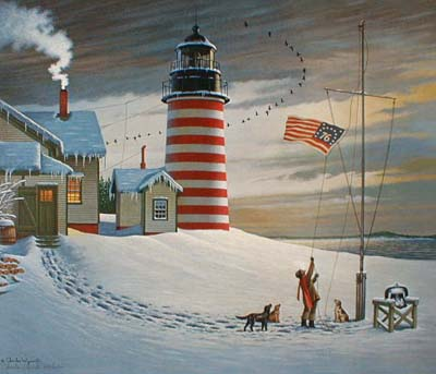 Charles Wysocki West Quoddy Head light (15x18 offset lithograph)