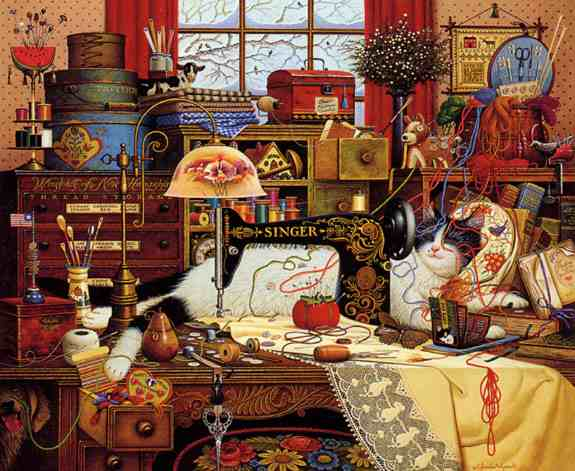 Charles Wysocki - Maggie the Messmaker Cat lying next to vintage Singer sewing machine