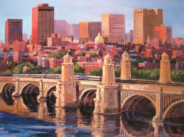 Frederick Kubitz Longfellow Bridge over Charles river with boston skyline