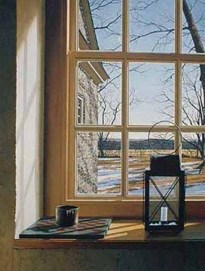 Edward Gordon - March print of lantern on windowsill looking out on yard