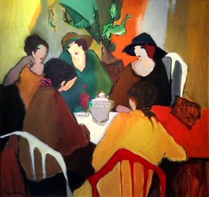 Painting of a group on women sitting around a table