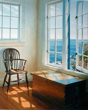 Edward Gordon - Solstice print of room with chair overlooking ocean
