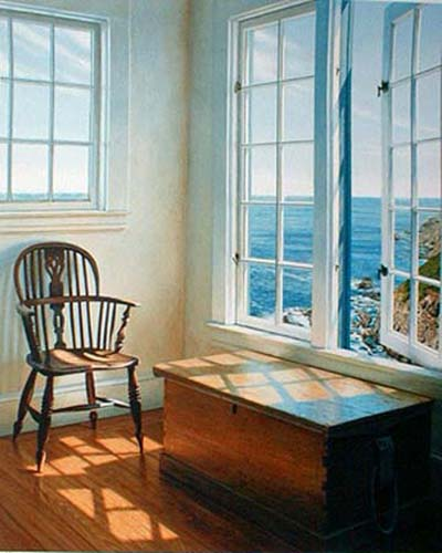 Edward Gordon - Solstice print of room with chair overlooking ocean