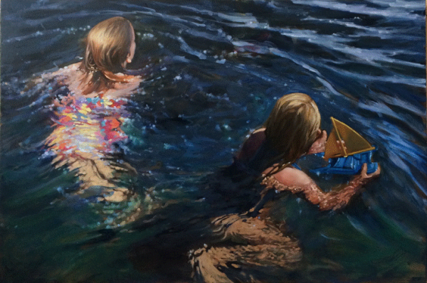 Carol OMalia Carol O'Malia Oil Painting of Two Young Girls Swimming