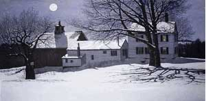 Carol Collette Etching of Farmhouse at Night in Winter with Full Moon
