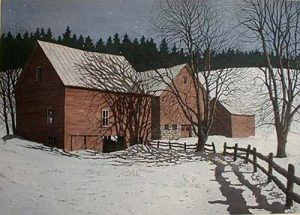 Carol Collette etching on paper of red brown Winter Evening Barn in snow on farm