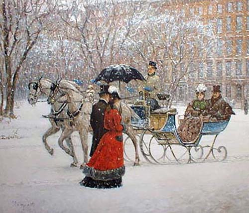 Alan Maley - Winter Impressions litho of people at turn of the century in horse drawn carriage while snowing