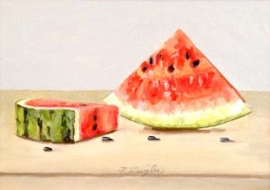 Patti Zeigler Painting Contemporary Fruit Watermelon Still Life Black Seeds Red Pink Melon Summer