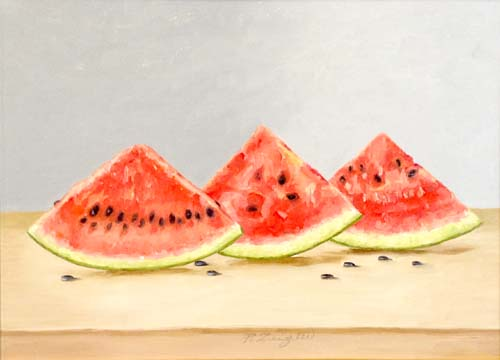 Patti Zeigler Painting Contemporary Still Life of Watermelon Slices Red and Black Seeds Green Bright Summer