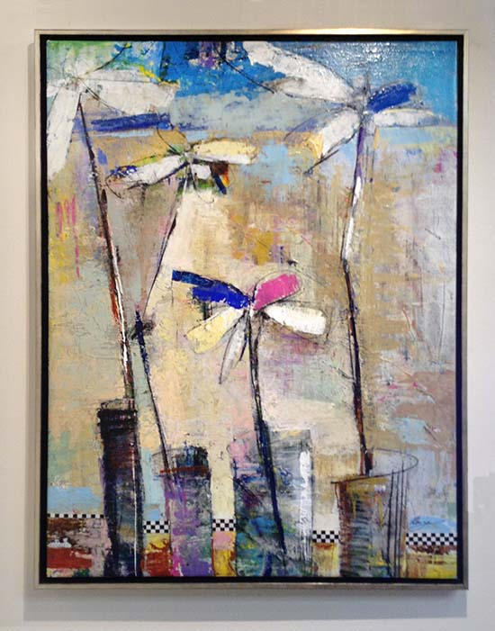 Helen Zarin framed painting of abstracted flowers