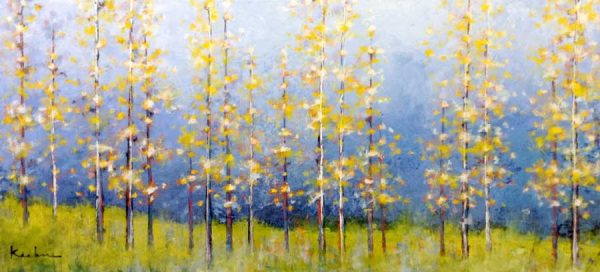 Jeff Koehn Painting Aspen Glade Grove of Birch Tree Forest Colorado Mountain