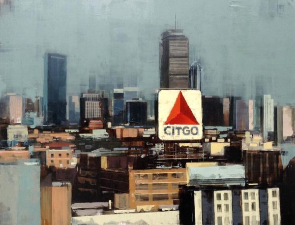 Kevin Kusiolek Painting of Boston Citgo Sign Kenmore Square City Skyline