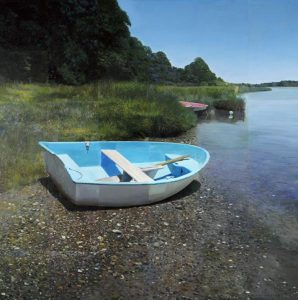 Robert Bolster Painting Realist Traditional Small Blue Row Boat Green Marsh on Shore