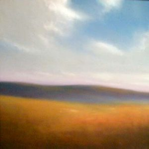 William Klemm Pastel Looking West - Contemporary Mountain Landscape with Yellow Orange Field and Blue Sky Clouds