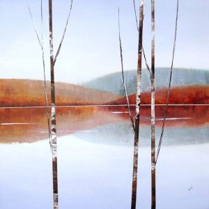 Sydney Edmunds Painting Nature Minimalist Landscape Birches Mountains Orange Teal