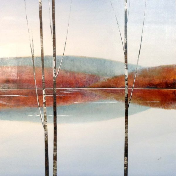 Sydney Edmunds Painting - Contemporary Landscape with Birches Mountains Green Orange White Rustic Minimal